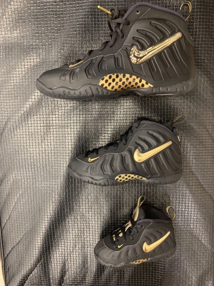 3a5c752045283 Nike Air Foamposite Black Metallic Gold Toddler Preschool GS Size ...