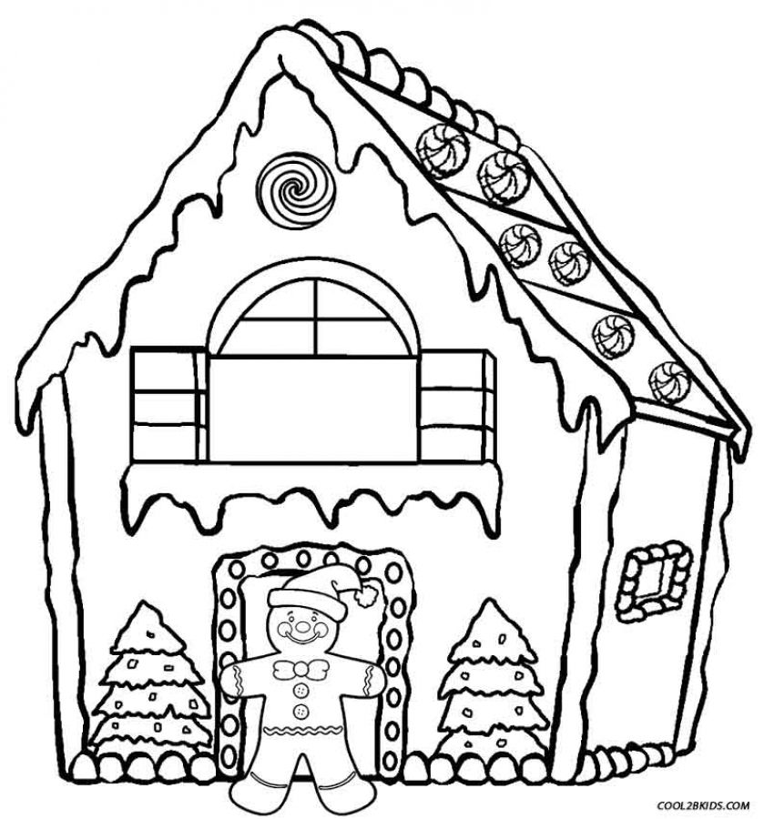 Online Printable Gingerbread House Coloring Sheets