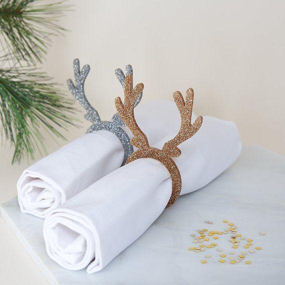 Reindeer Antler Napkin Rings, Christmas Napkin Holders, Stag Napkin