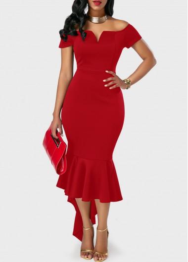 d955dd12ecf Off the Shoulder Asymmetric Hem Red Sheath Dress