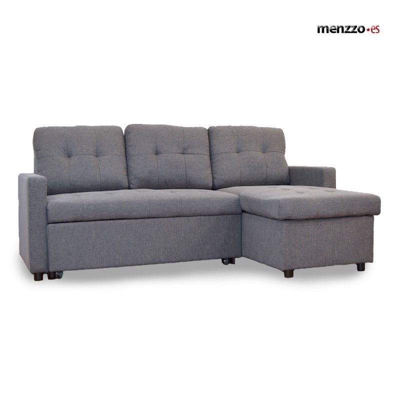 469€ Sofá Cama Toledo tela efecto lino gris osc Menzzo