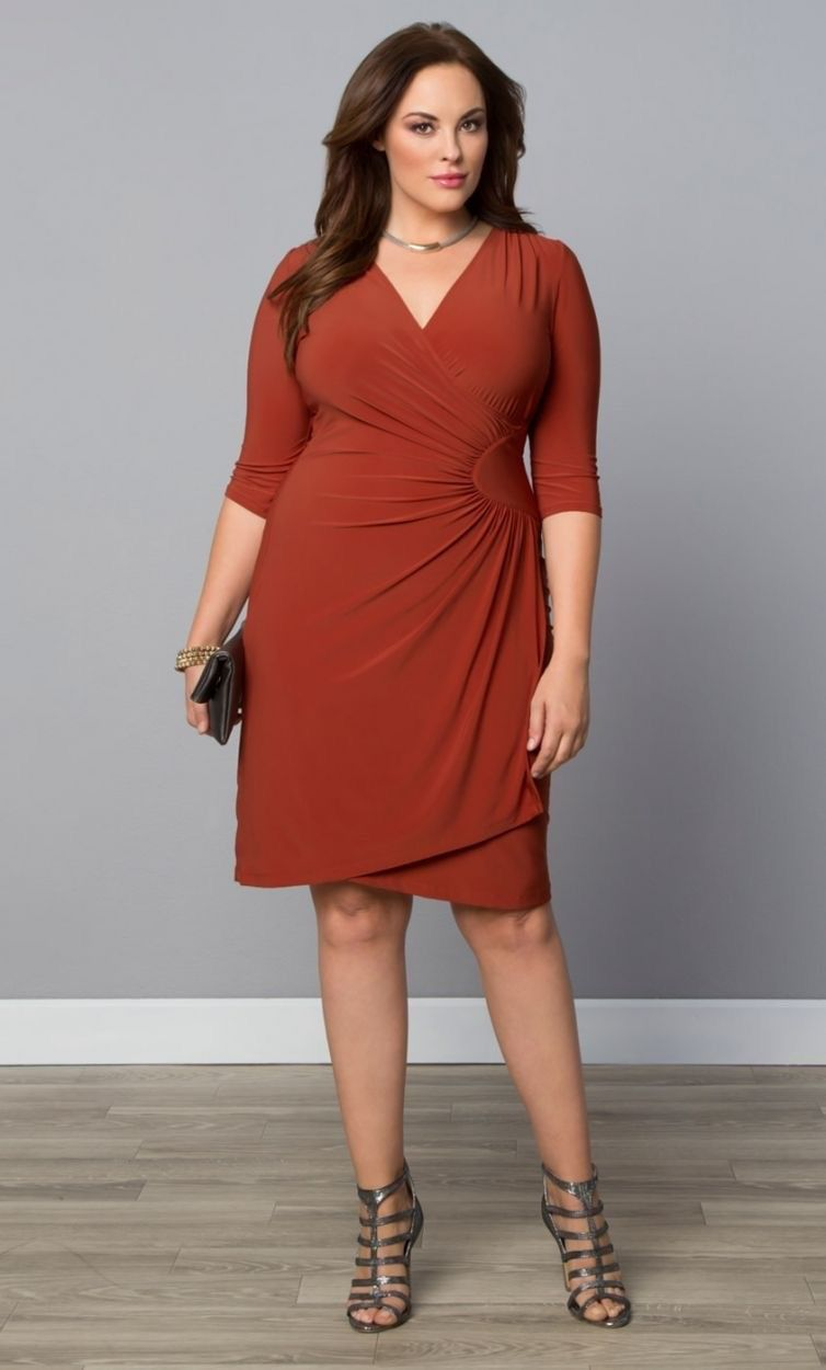 Ciara Trendy Plus Size Jurk - Terracotta  Plus Size -2527