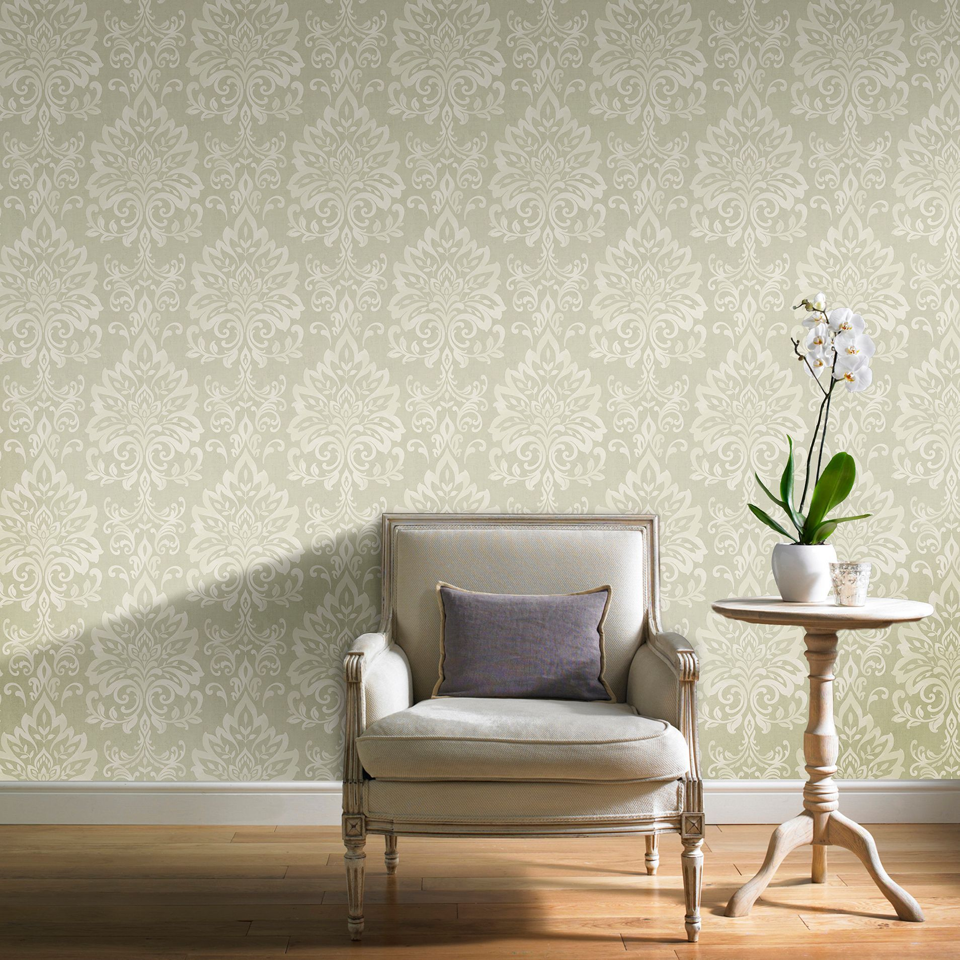 Green Opulence Glitter Effect Wallpaper