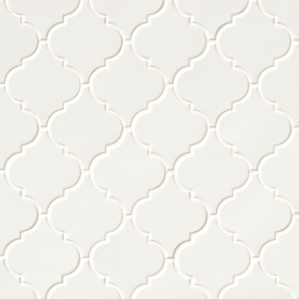 Msi Whisper White Arabesque 10 1 2 In X 15 1 2 In X 8 Mm Glossy Ceramic Mesh Mounted Mosaic Wall Tile 11 7 Sq Ft Case Pt Ww Arabesq The Home Depot In 2020 Mosaic Wall Tiles