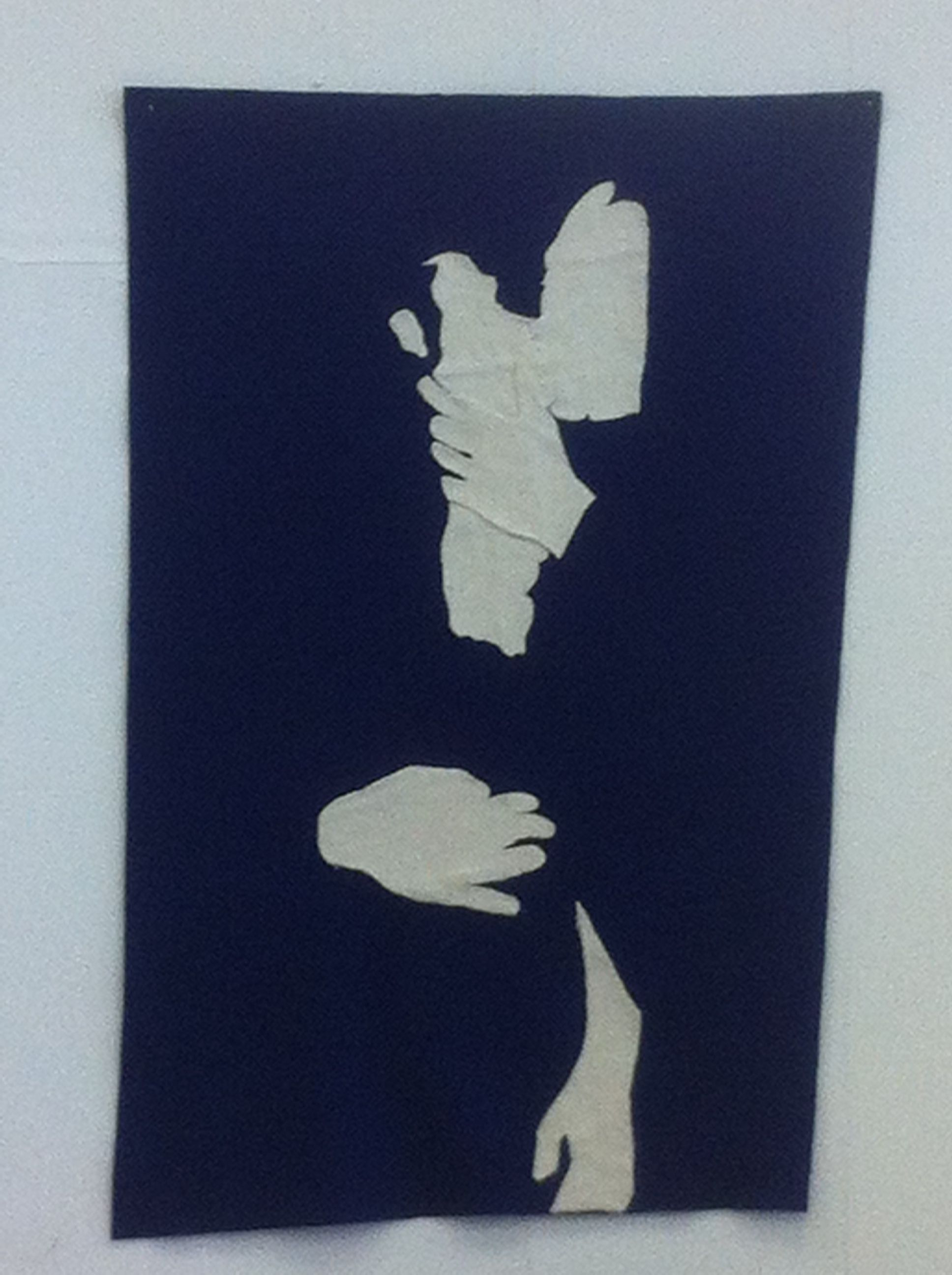 This is a felt 'painting' of the kiss between Mia and Dracula from the film. Second year University.