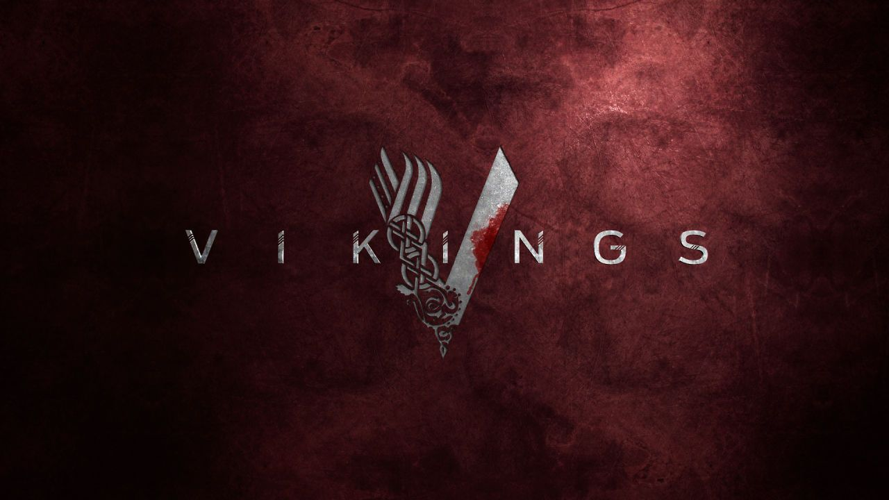 Vikings TV Show Logo Red Background Wallpaper | History ...
