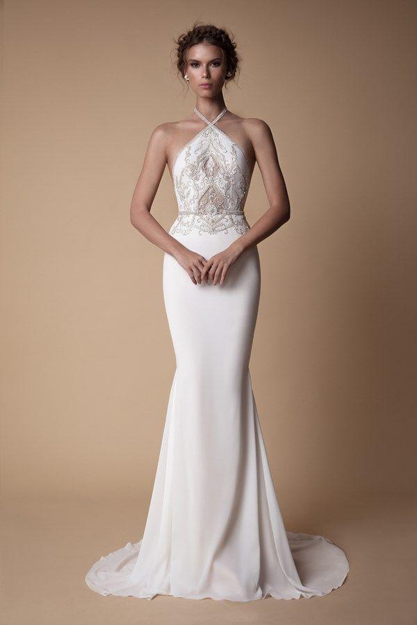 Halterneck wedding dresses inspired by Meghan Markle's wedding reception dress #bertaweddingdress