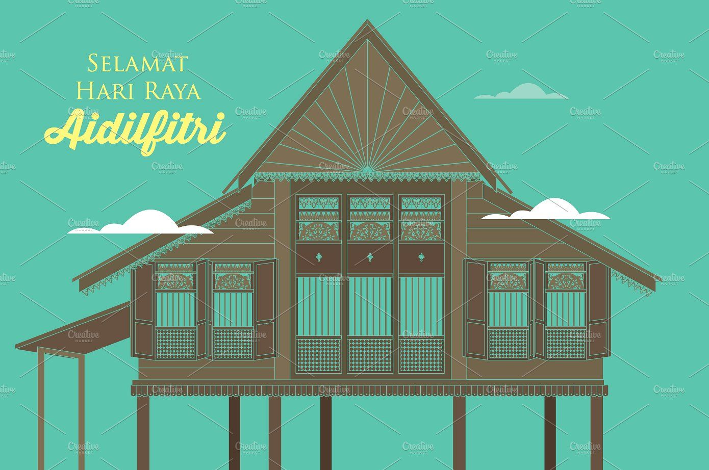 raya kampung village vector village eid card designs vector eid card designs