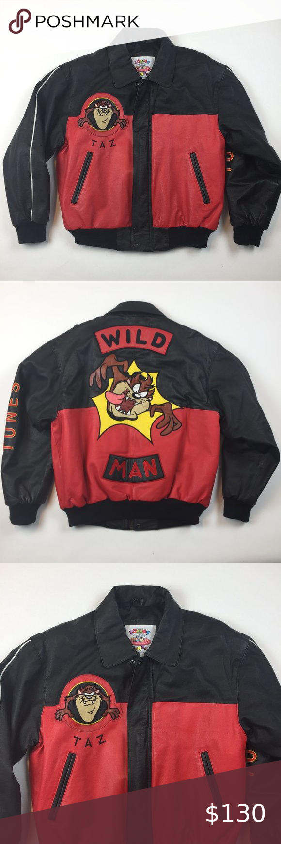 Vintage Looney Tunes Excelled Taz Leather Jacket M Warner Bro S 1996 Gently Used No Flaws Great Condition I Have Many In 2020 Leather Jacket Jackets Clothes Design [ 1740 x 580 Pixel ]