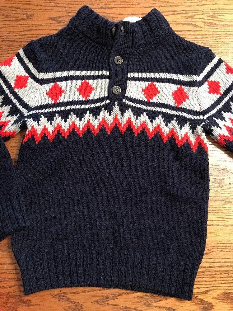 Gymboree Boys Size Small, 5-6 Navy Long Sleeve, Fair Isle Sweater ...