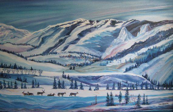 Snowy High Country Wildlife Art Winter Deer Oil by DanLeasure, $277.00