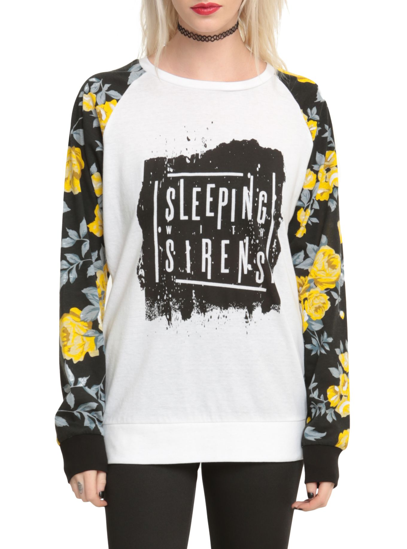 Sleeping With Sirens Floral filles manches Pull Top-7772