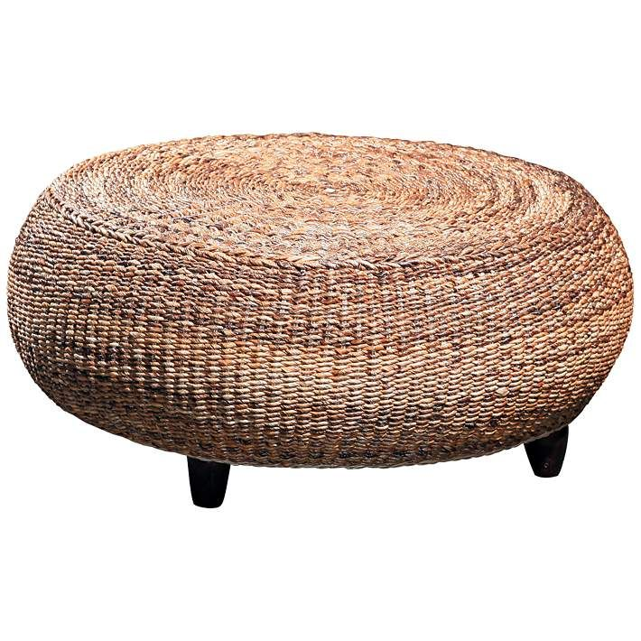 Mandalay Natural Woven Seagrass Round Coffee Table 20w73