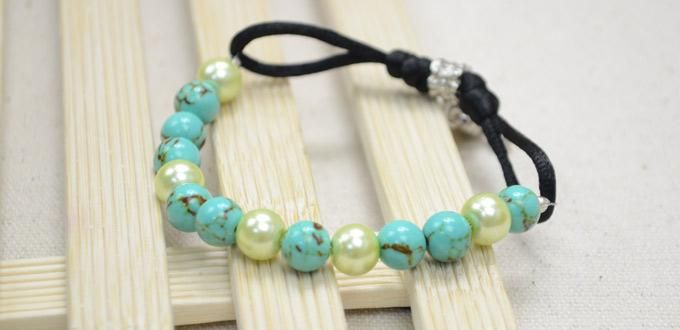 Making an Adjustable Turquoise and Pearl Bracelet Within 2 Steps - Pandahall.com