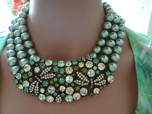 "Heidi Daus ""Dragonfly"" Green Bead Necklace GR155 | eBay"