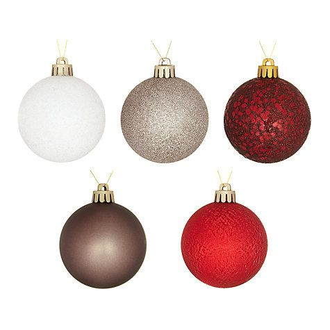 John Lewis Shatterproof Baubles, Pack of 20, Multi | Glass ...