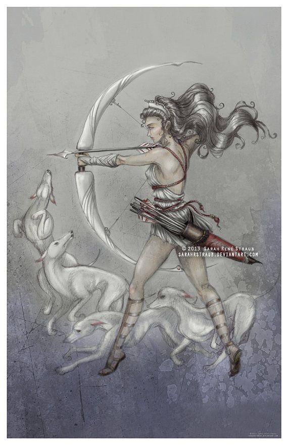 Artemis Goddess Of The Hunt Original Art Print By Sketchystraub