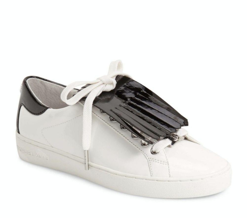 fe73a9f9aa8 New Michael Kors Keaton Kiltie Patent Leather Sneaker Optic White Black  Size 9M  MichaelKors  FashionSneakers