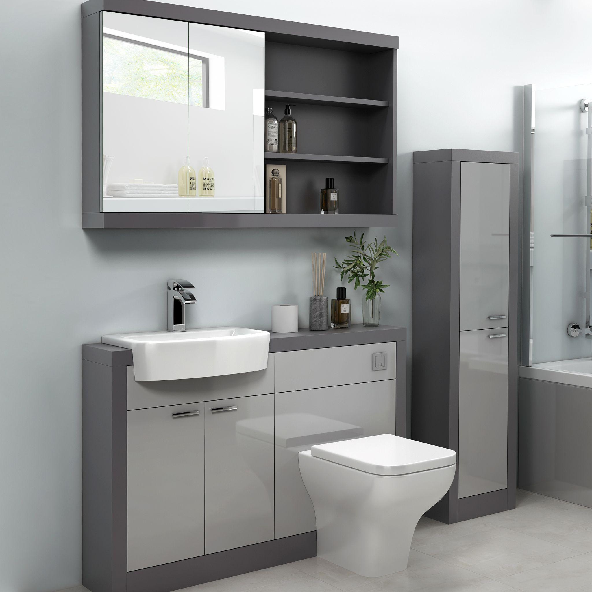 Grove 1200 Grey Vanity Unit Combination Vanity Units Vanity Units Back To Wall Toilets