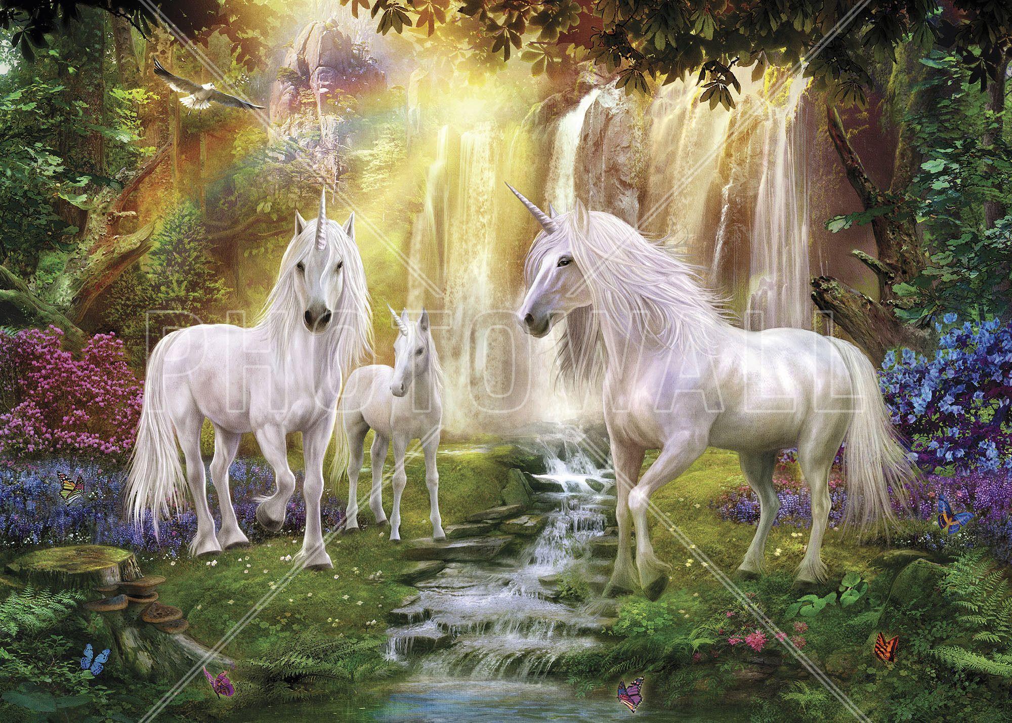 Waterfall Glade Unicorns - Fototapeten & Tapeten - Photowall