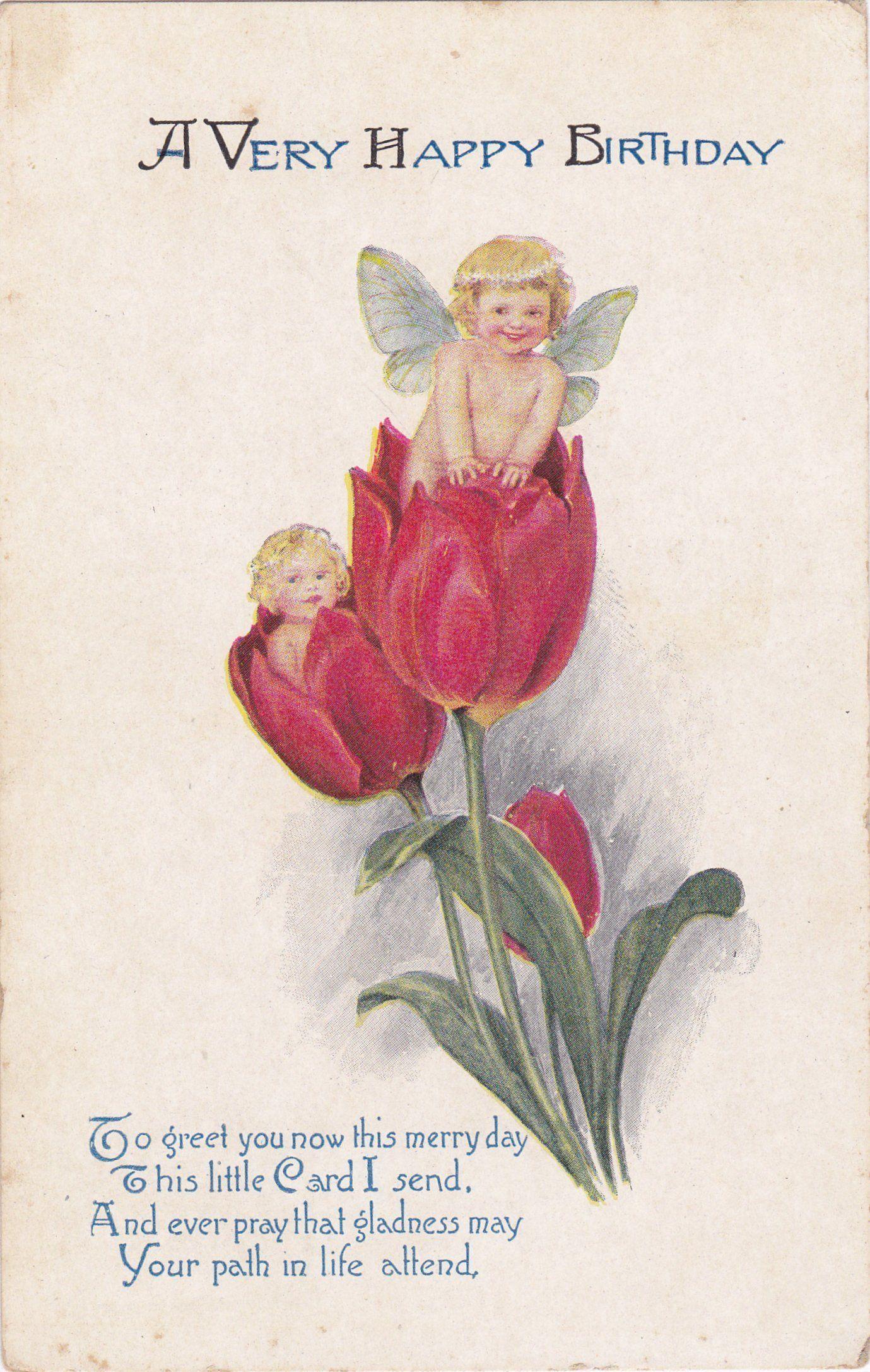 Tulip Fairies 1900s Antique Postcard Happy Birthday Flower