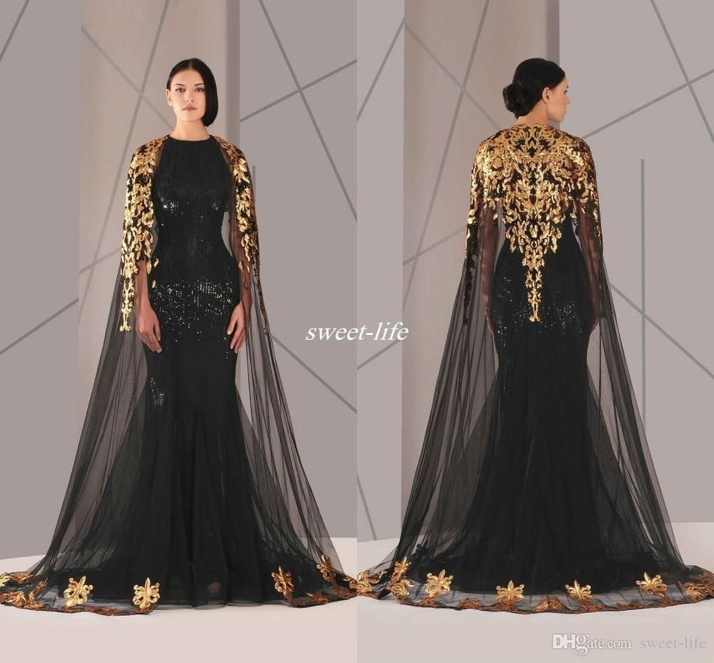 d1dfb69348cf9 Details about Black Arabic Muslim Evening Dresses with Cloak Plus ...