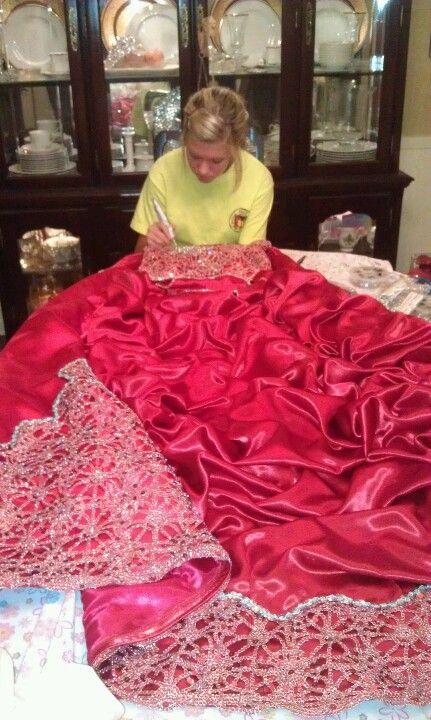 Working on dress