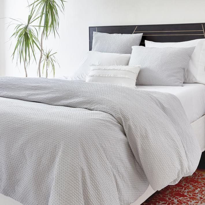 Organic Cotton Diamond Crinkle Duvet Cover Shams In 2021 Textured Duvet Duvet Covers White Duvet Covers
