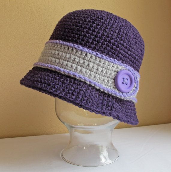 6a1cccd1619 CROCHET PATTERN - Uptown Girl - a cloche hat with button in 8 sizes (Infant