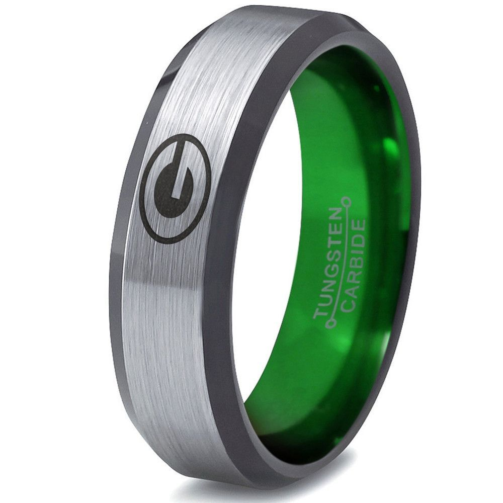 Green Bay Packers Silver Beveled Green Tungsten Ring Green Tungsten Ring Green Bay Green Tungsten
