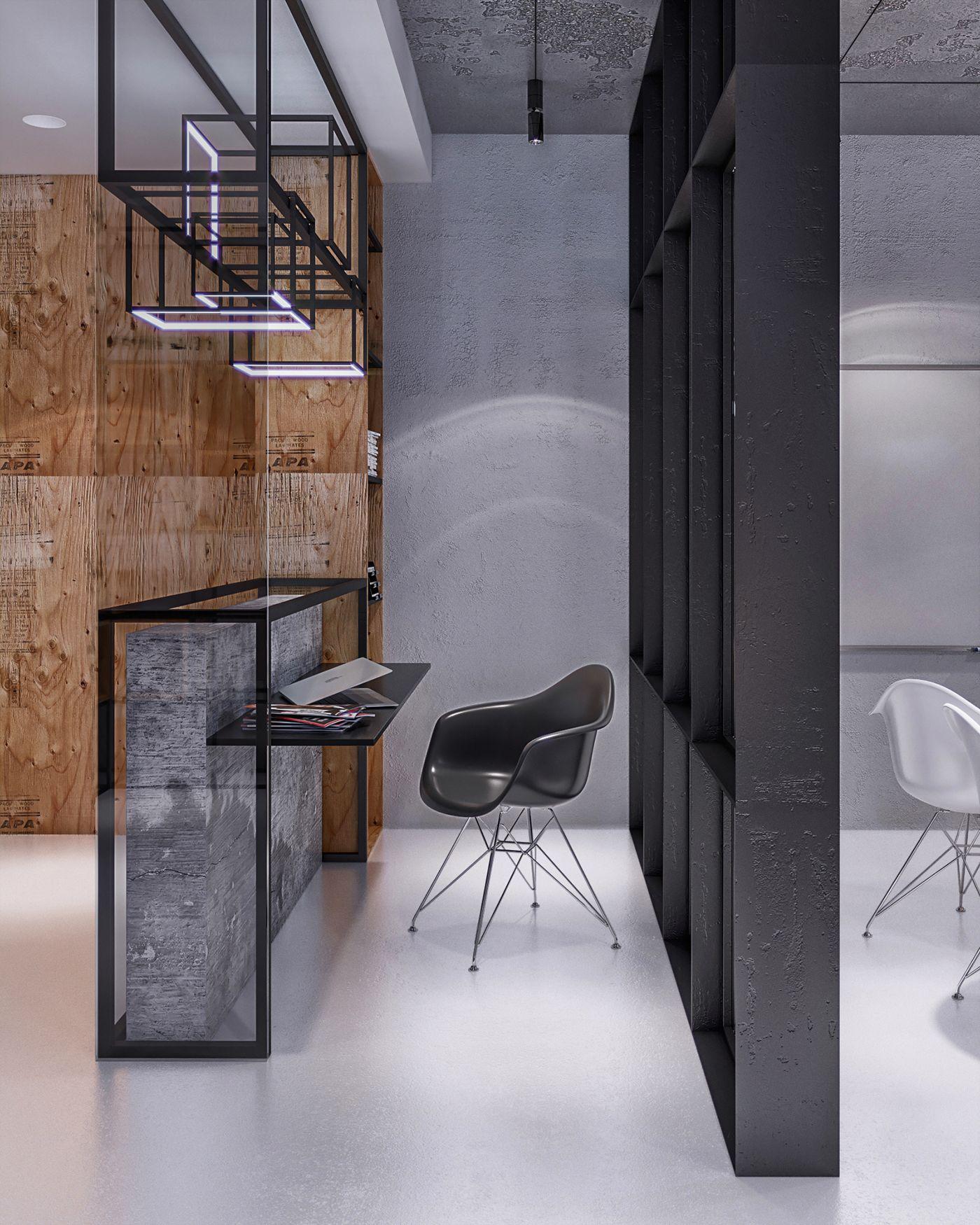 industrial office studio on behance office working space pinterest b ro design buero. Black Bedroom Furniture Sets. Home Design Ideas