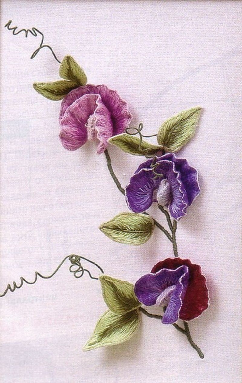 Ribbon work bed sheets designs - I Stumpwork Embroidery Enlarged Picture Of Mc Sweet Peas By Inna