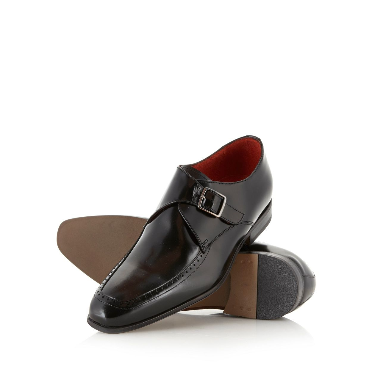 Designer black leather buckle shoes at