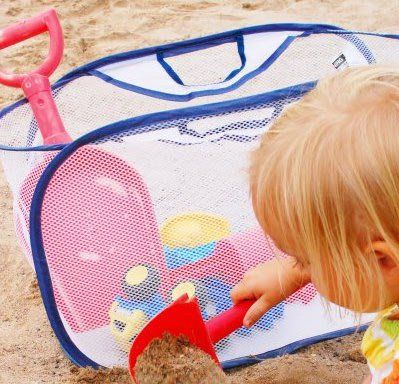Great Way To Sandy Toys Mesh Expandable Laundry Bag