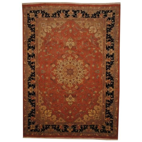 Persian Hand Knotted Tabriz Peach Black Wool And Silk Rug 6 7 X