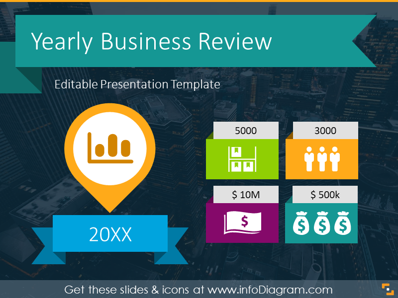 Yearly Business Review Presentation Template (PPT icons