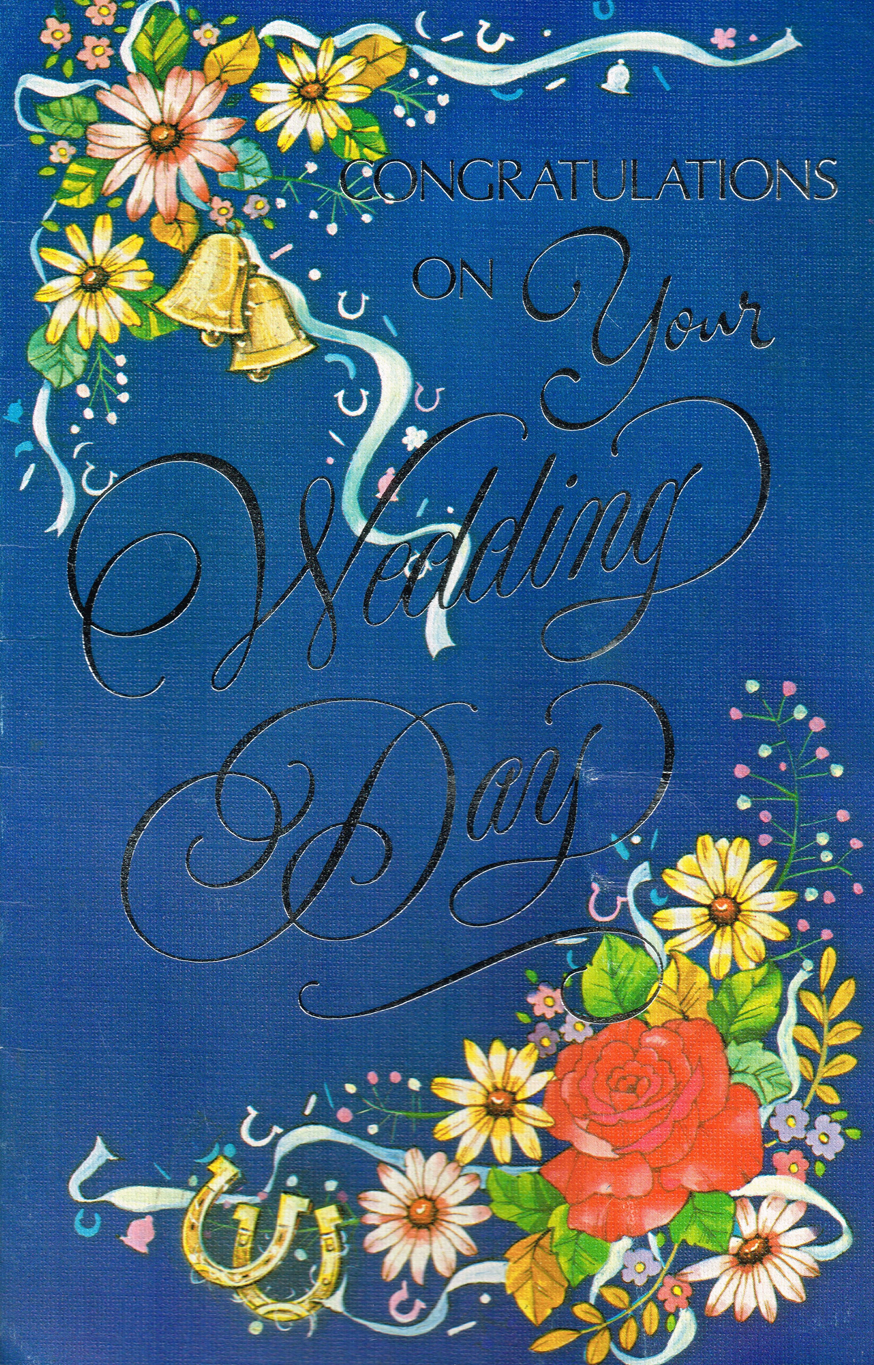 Congratulations on your wedding day vintage card
