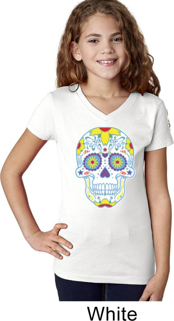 cd0e1f7fd T Shirts · Tees · Girl's Neon Sugar Skull Shirt WS-19099-3740 Sugar Skull  Shirt, Skull Shirts