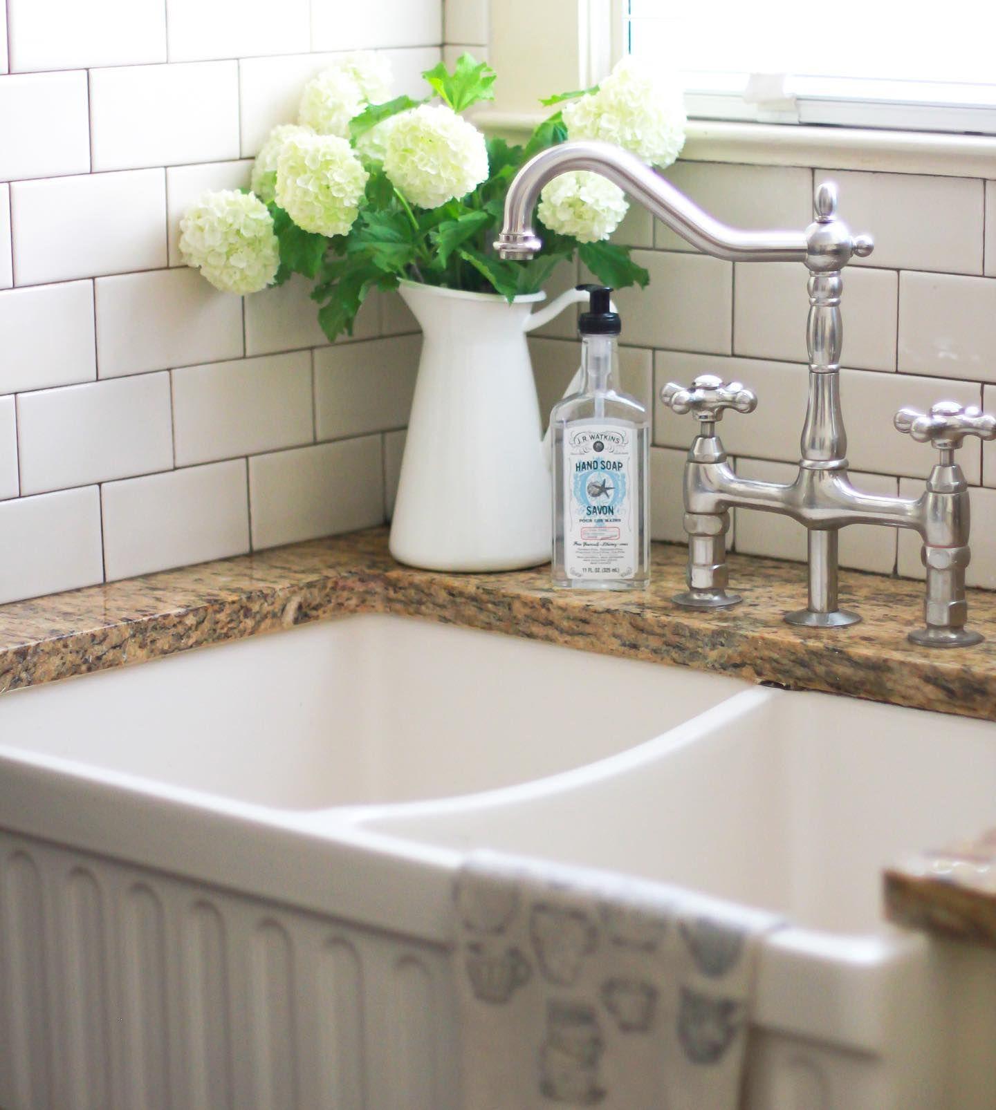 Bridge Style Kitchen Faucet With Metal Cross Handles In 2020