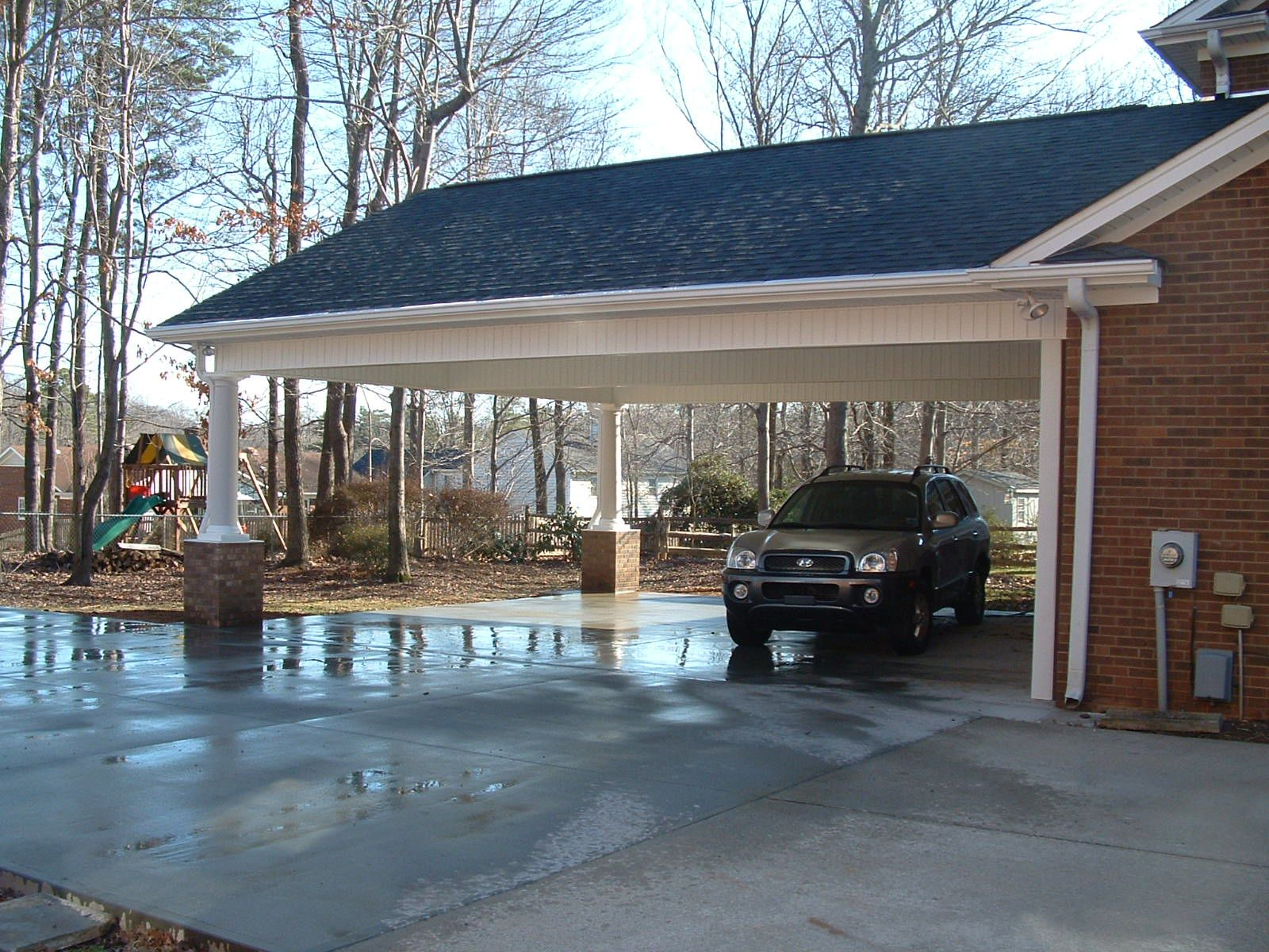 Carport and screen porch additions white addition before for House plans with carport