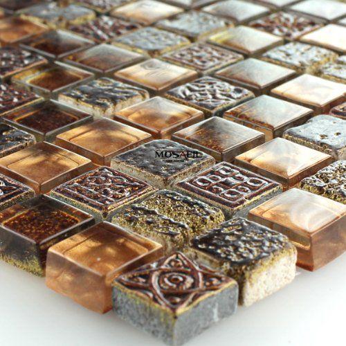 Fantastisch Glas Marmor Mosaik Fliesen Braun Gold Glasmosaik 15x15x8mm Marmorglas:  Amazon.de: Baumarkt