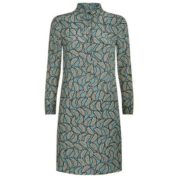 Burberry Leaf Print Silk Shirt Dress (58,395 MKD) ❤ liked on Polyvore featuring dresses, leaf dress, burberry dress, shirt dress, long shirt dress and long sleeve shirt dress