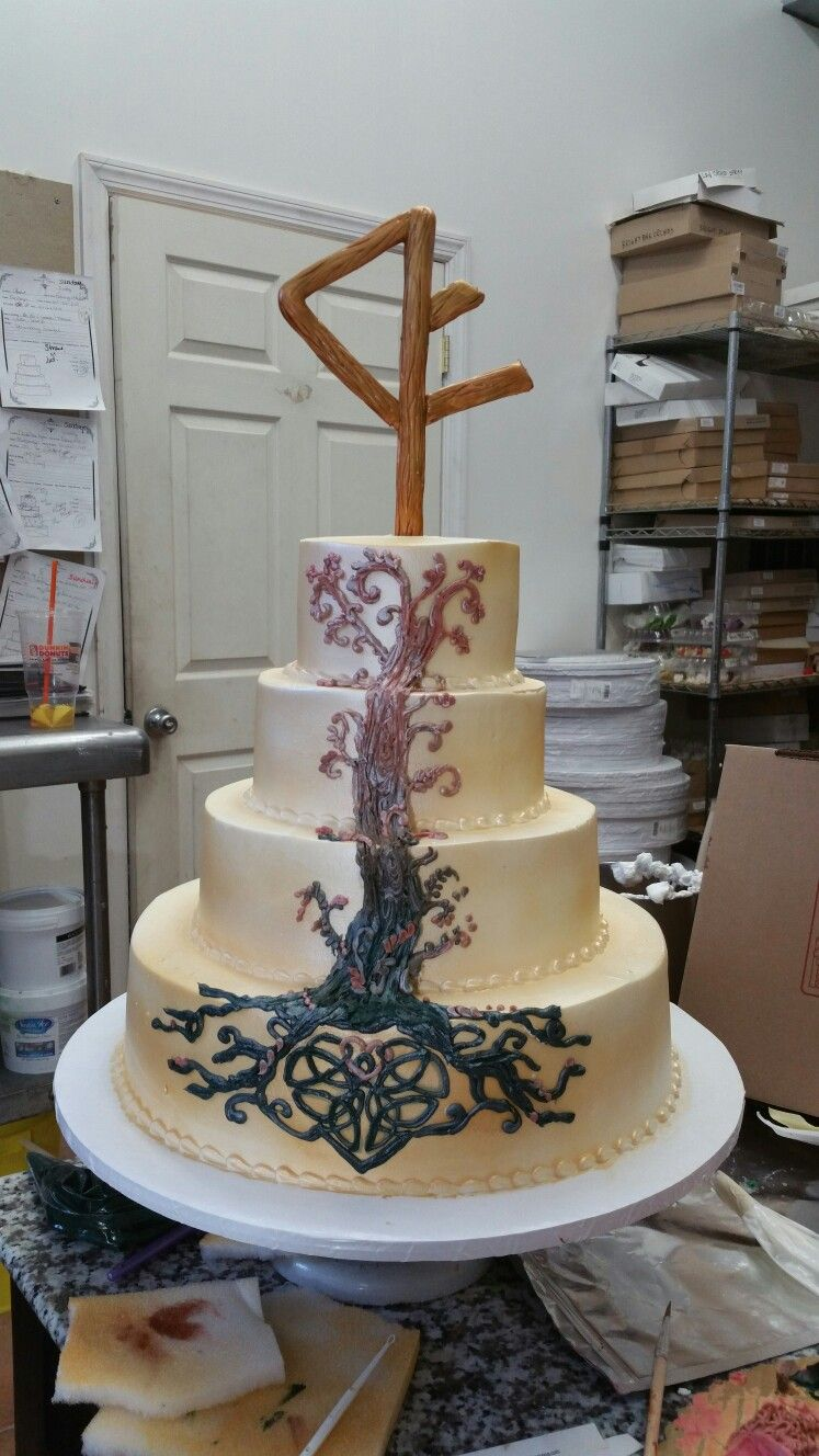 Rune Tree Celtic Knot Wedding Cake Wiccan Wedding Nordic Wedding