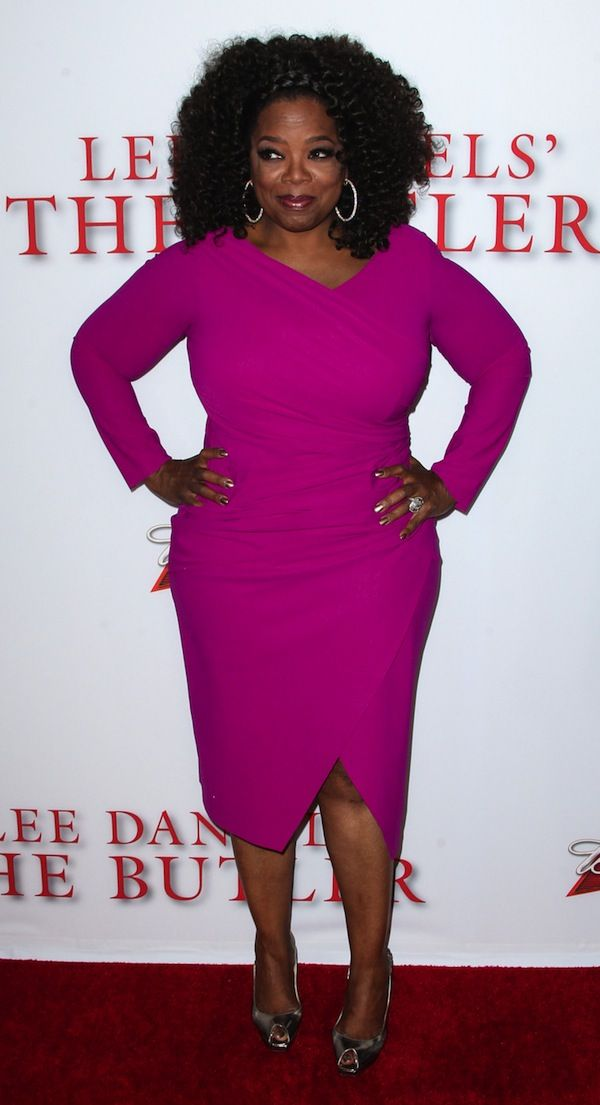 Oprah Winfrey Attends The Premiere Of The Weinstein Company S Lee Daniels The Butler At Regal Cinemas L A Live In Los Angel Fashion Pink Wrap Dress Dresses