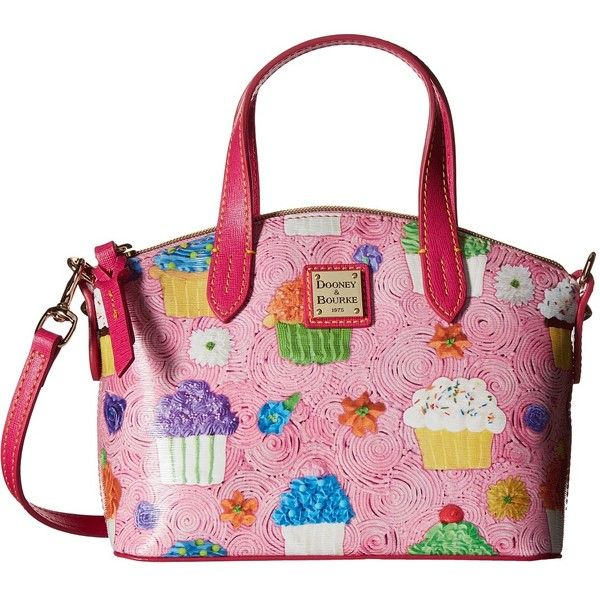 Dooney & Bourke Ruby Bag Cupcake (Pink w/ Fuchsia Trim) Handbags ($158) ❤ liked on Polyvore featuring bags, handbags, dooney bourke purses, pink bag, hand bags, structured purse and zip bag