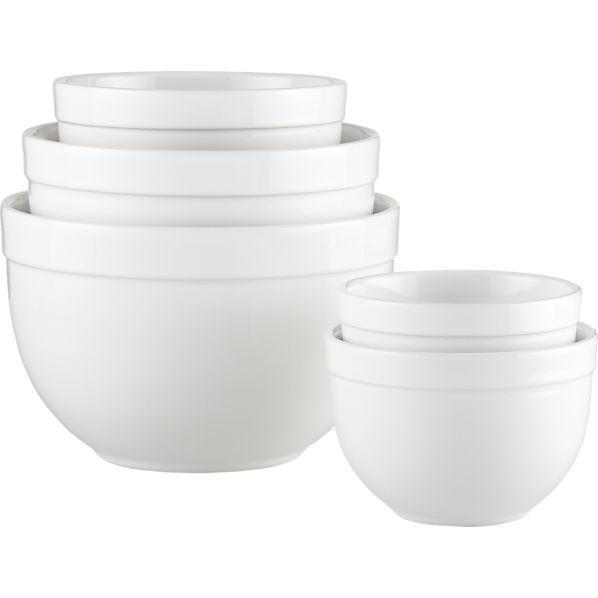 Nesting Mixing Bowl Set 5 Piece 5 5 9 75 Reviews Crate And Barrel Mixing Bowls Set Mixing Bowls White Bowls