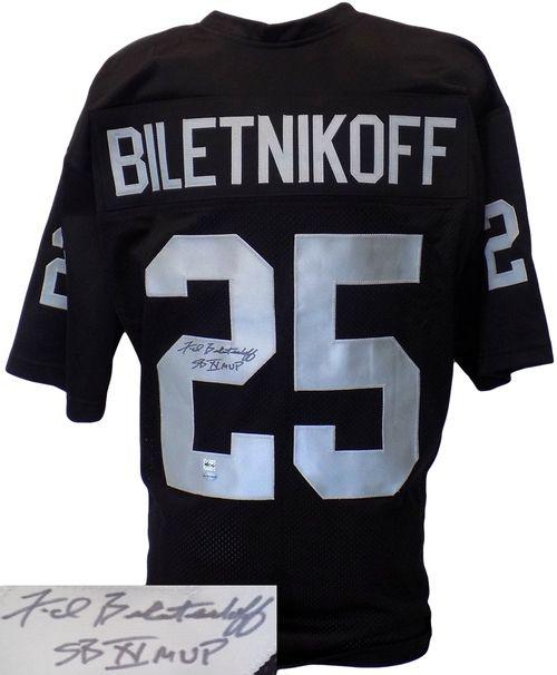 new style 43663 5089e FRED BILETNIKOFF SIGNED CUSTOM BLACK FOOTBALL JERSEY SB XI ...