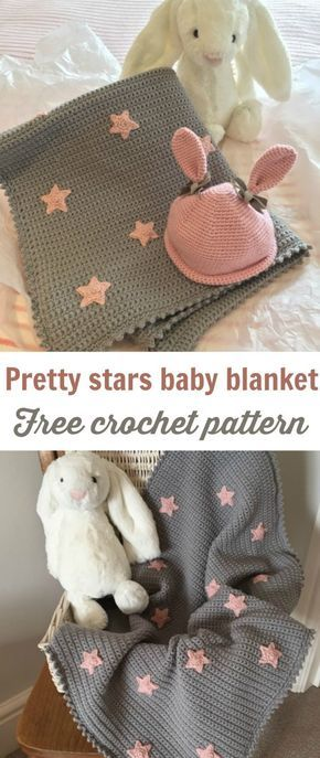 Free + Easy Crochet Baby Blanket Pattern Grey With Stars | Pinterest ...