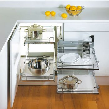Hafele Magic Corner II for Use in Kitchen Blind Corner Cabinet |  KitchenSource.com