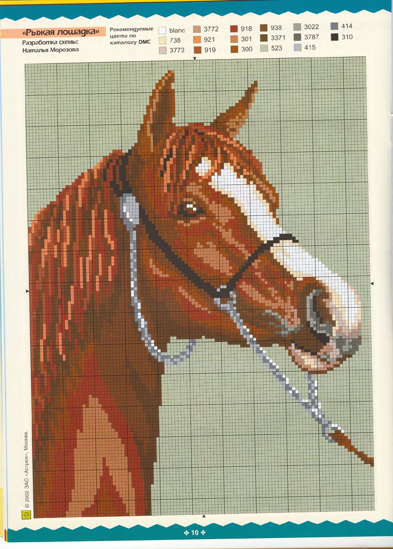 Embroidery of a horse: diagrams and descriptions